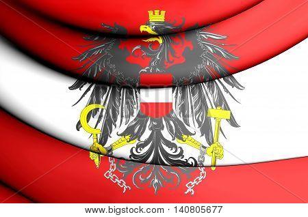 Flag of Austria. 3D Illustration. Front View.
