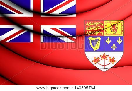 Canadian Red Ensign (1957-1965). 3D Illustration. Front View.