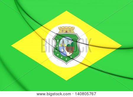 Flag of Ceara Brazil. 3D Illustration. Front View.