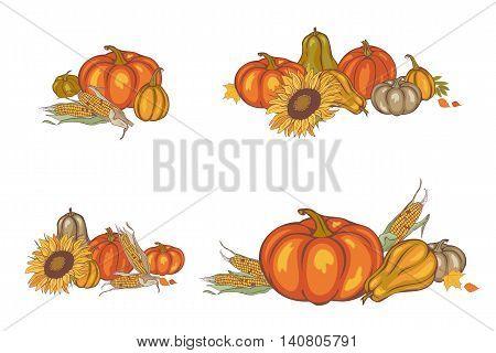 Harvest Corn, Sunflower And Pumpkin
