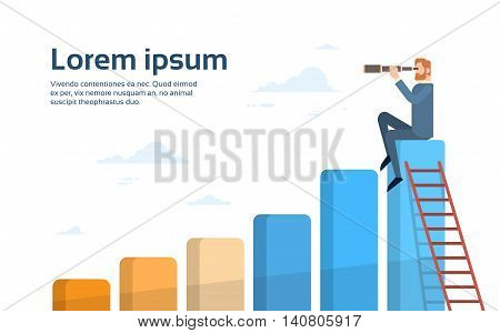 Businessman Sit On Financial Bar Graph With Binoculars Successful Future Flat Vector Illustration