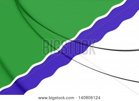 Flag of Novosibirsk Russia. 3D Illustration. Close Up.