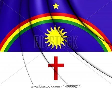 Flag of Pernambuco Brazil. 3D Illustration. Close Up.
