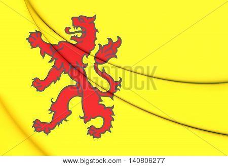 Flag Of South Holland, Netherlands. 3D Illustration.
