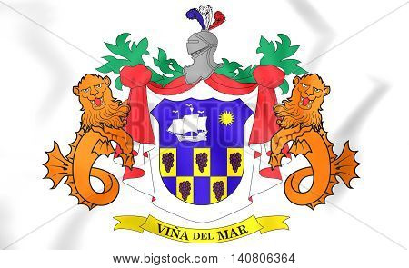 Vina Del Mar Coat Of Arms, Chile. 3D Illustration.