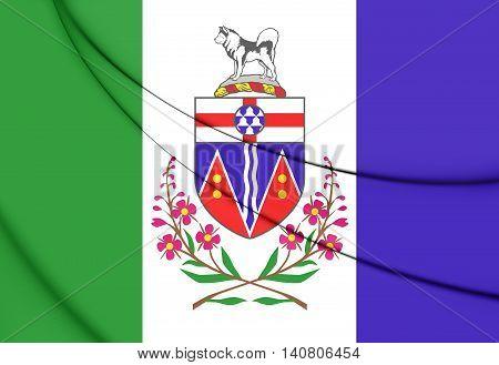 Flag of Yukon Canada. 3D Illustration. Close Up.