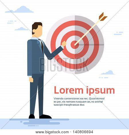 Business Man Arrow Hit Target Successful Goal Flat Vector Illustration