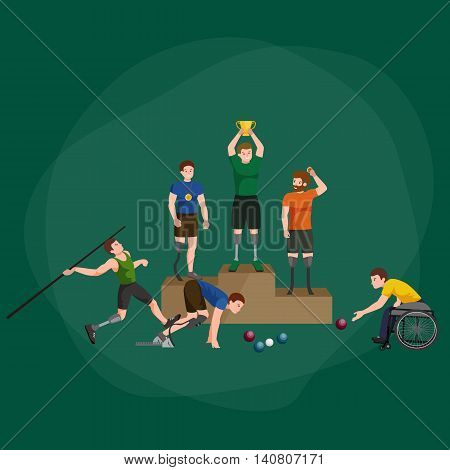disabled athlete with prosthesis isolated concept, sport for people with prosthesis, physical activity and competition for invalid
