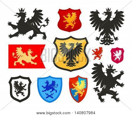 Shield with griffin, gryphon, eagle vector logo. Coat of arms, heraldry set icon