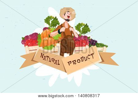 Farmer Vegetable Harvest Natural Product Eco Fresh Farm Logo Flat Vector Illustration