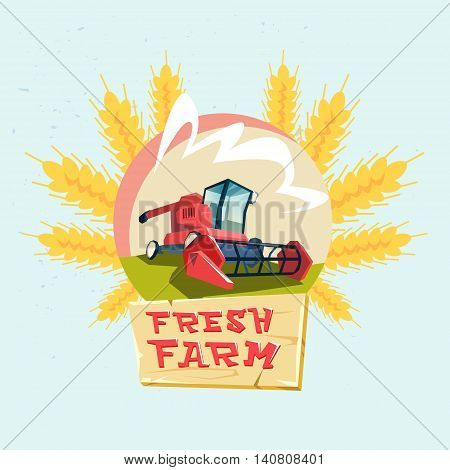 Combine Harvesting Wheat Crop In Field Eco Fresh Farm Logo Flat Vector Illustration