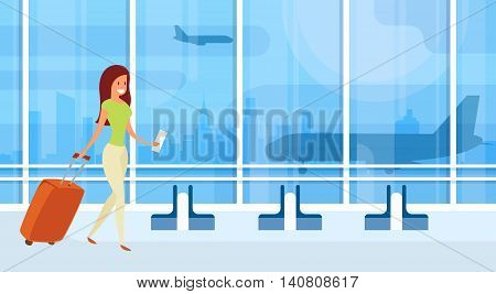 Traveler Woman Airport Hall Departure Terminal Travel Baggage Suitcase, Passenger With Luggage Flat Vector Illustration