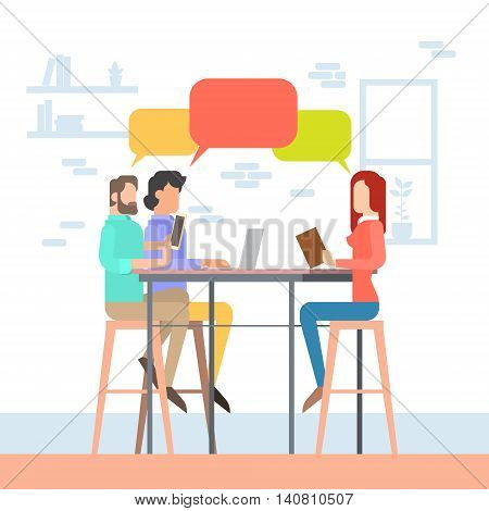 Creative Office Co-working Center People Sitting Desk Working Together, Students Chat Bubble University Campus Flat Vector Illustration