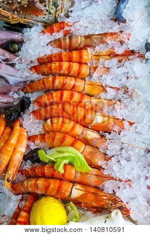 Fresh Seafood In The Fridge Of The Seafood Restaurant In Crete, Greece