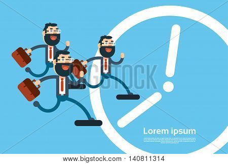 Business Man Run Time Clock Background Deadline Concept Flat Vector Illustration