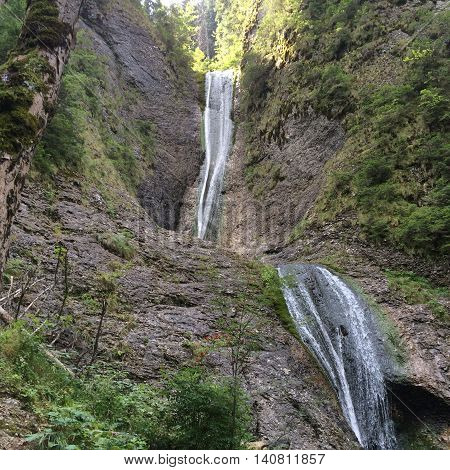 Romania, August 25, 2015, Ceahlau Massif, Moldova, Urlatoarea -The Crying One Waterfall