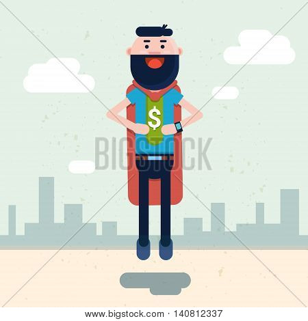 Business Man Wear Super Hero Suit With Dollar Sign Flat Vector Illustration