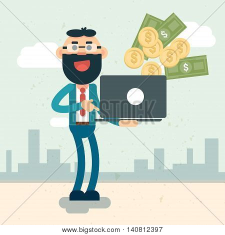Rich Business Man Hold Laptop Throwing Money Flat Vector Illustration