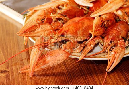 Red Boiled Crawfish on a Plate. Close-up Photo of Snack Food