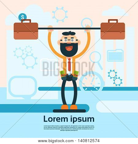 Strong Rich Business Man Hold Briefcase Finance Success Wealth Concept Flat Vector Illustration