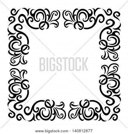 Vintage baroque frame scroll ornament engraving border floral retro pattern antique style acanthus foliage swirl decorative design element filigree calligraphy wedding - vectorTraditional golden decor