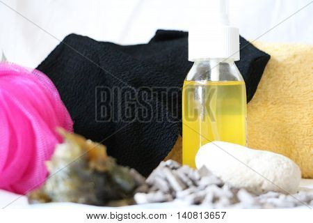 Moroccan bath accessoires with soap and glove