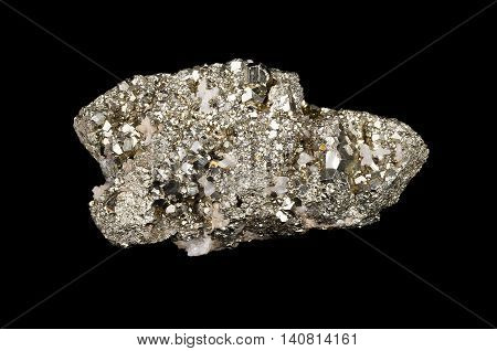 Pyrite on black, also known as iron pyrite and fools gold, is an iron sulfide with the chemical formula FeS2. Other names are brass, brazzle and Brazil. Dodecahedron shaped crystals. Photo.
