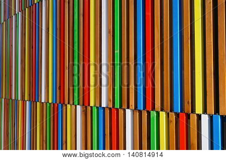 Bright colorful slats on the side of a building