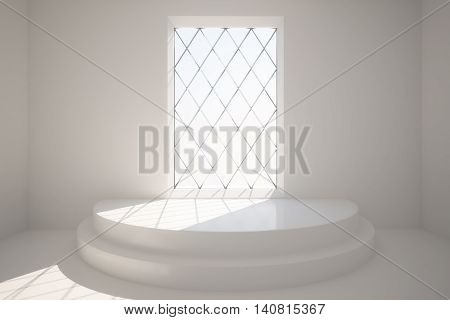 Abstract concrete interior with pedestal and rhombus framed window with daylight. 3D Rendering