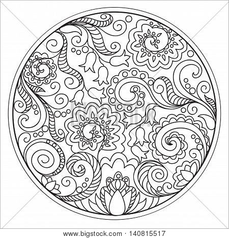 Hand drawn tangled flowers in the circle. Image for adult coloring books decorate plates porcelain ceramics crockery. eps 10