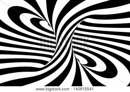 Black and white abstract spiral background 3D rendering