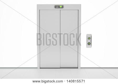 Modern elevator with closed doors 3D rendering