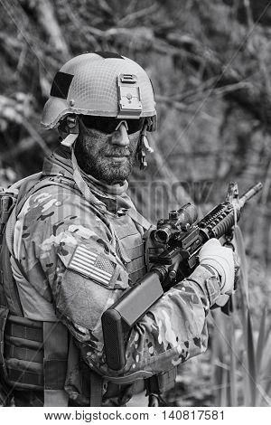 Green Berets US Army Special Forces Group soldier in action