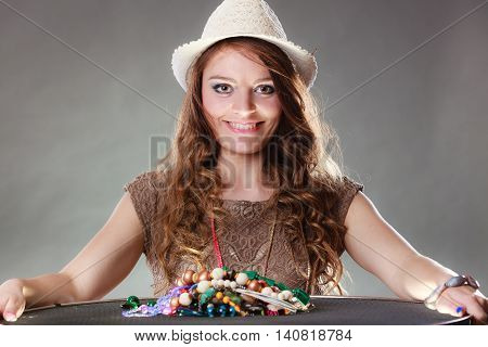 Mysterious Woman With Jewelry Necklaces Beads.