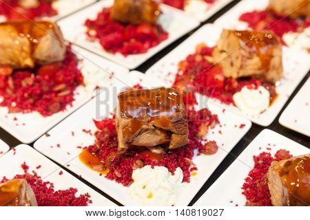 degustations sets of cous cous with meat rolls on plate