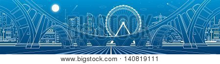 Big bridge, amazing panorama of night city. Architecture and infrastructure illustration. Ferris wheel, neon town, office buildings, nightlife, vector design art