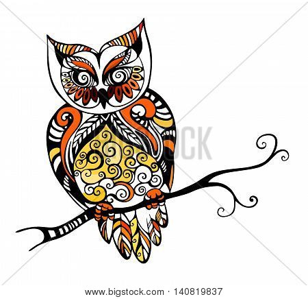 vector illustration of a beautiful colorful owl