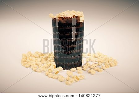 Movie lovers concept with film strip popcorn cup on light background. 3D Rendering