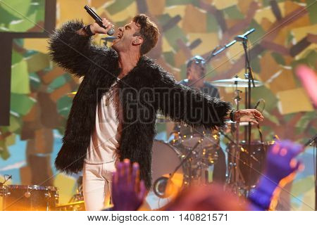 NEW  YORK-NOV 13: Zac Barnett of American Authors perform on stage during VH1's 2nd Annual 'You Oughta Know Live In Concert' 2014 at Hammerstein Ballroom on November 13, 2014 in New York City.