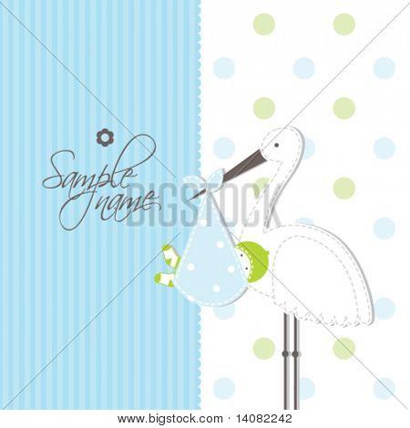 Cartão do anúncio da chegada de bebê menino