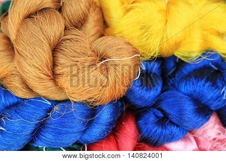Close up image of Colorful raw silk thread