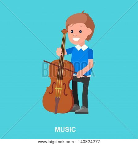 Cute vector character. Happy boy kid playing on contrabass. Education and child development. Banner for kindergarten, children club or school of Arts, music school