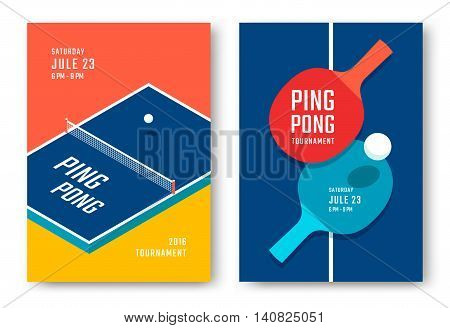 Ping-pong posters design. Table and rackets for ping-pong. Vector illustration