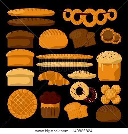 Various sorts of bread. Bakery or pastry product types. Vector icons set. Dough, cupcakes, sweet buns, cakes suitable for bakery shop. Vector Illustration. Food design elements.