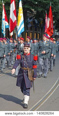 ZURICH - AUGUST 1: Swiss National Day parade on August 1, 2016 in Zurich, Switzerland. Representatives of swiss army in a historical costumes.