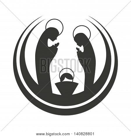 silhouette of the Christmas manger figure vector illustration design