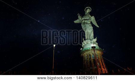 Quito, Pichincha / Ecuador, June 8 2016: Night view of Virgen de El Panecillo or Virgen de Legarda. It is located on the top of Panecillo hill near the historical center of the city of Quito. Ecuador