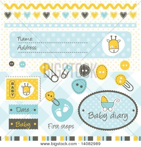 Scrapbook elements and design elements for baby boy arrival card