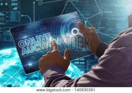 Internet. Business. Technology Concept.businessman Presses A Button Online Auction On The Virtual Sc
