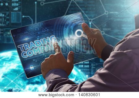 Internet. Businesinternet. Business. Technology Concept.businessman Presses A Button  Trading Compan